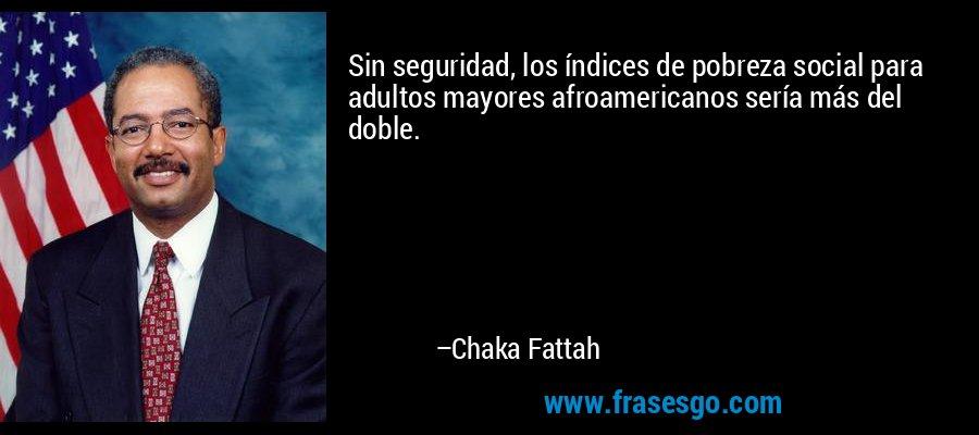 Sin seguridad, los índices de pobreza social para adultos mayores afroamericanos sería más del doble. – Chaka Fattah