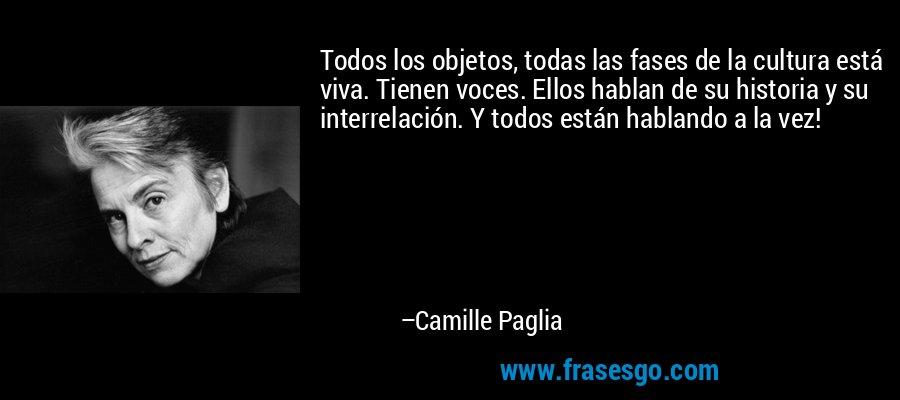 Todos los objetos, todas las fases de la cultura está viva. Tienen voces. Ellos hablan de su historia y su interrelación. Y todos están hablando a la vez! – Camille Paglia