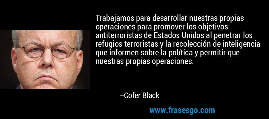 Trabajamos para desarrollar nuestras propias operaciones para promover los objetivos antiterroristas de Estados Unidos al penetrar los refugios terroristas y la recolección de inteligencia que informen sobre la política y permitir que nuestras propias operaciones. – Cofer Black