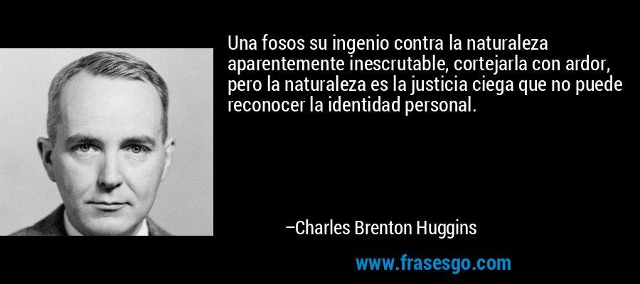 Una fosos su ingenio contra la naturaleza aparentemente inescrutable, cortejarla con ardor, pero la naturaleza es la justicia ciega que no puede reconocer la identidad personal. – Charles Brenton Huggins