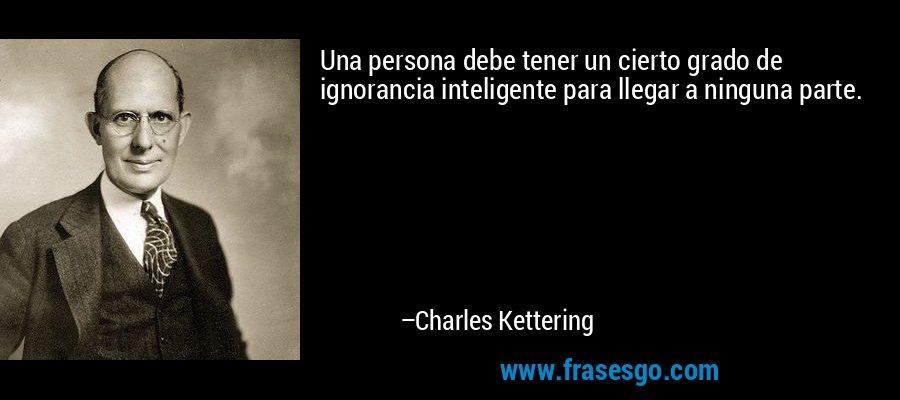 Una persona debe tener un cierto grado de ignorancia inteligente para llegar a ninguna parte. – Charles Kettering