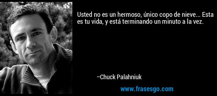 Usted no es un hermoso, único copo de nieve... Esta es tu vida, y está terminando un minuto a la vez. – Chuck Palahniuk