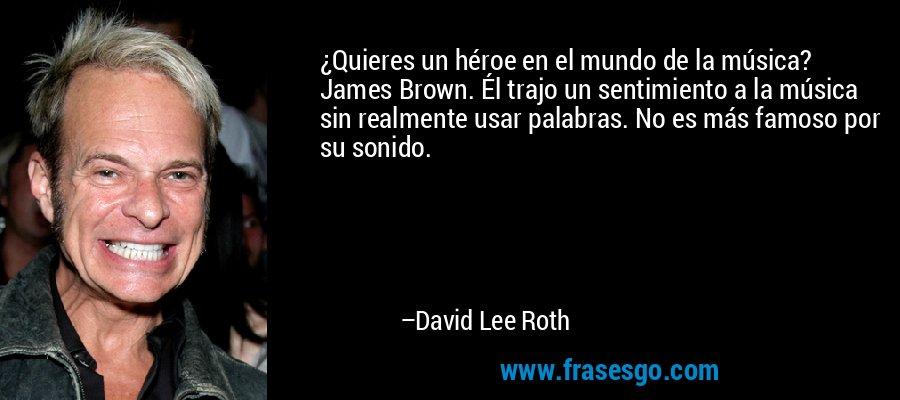 ¿Quieres un héroe en el mundo de la música? James Brown. Él trajo un sentimiento a la música sin realmente usar palabras. No es más famoso por su sonido. – David Lee Roth