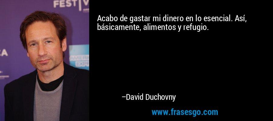 Acabo de gastar mi dinero en lo esencial. Así, básicamente, alimentos y refugio. – David Duchovny