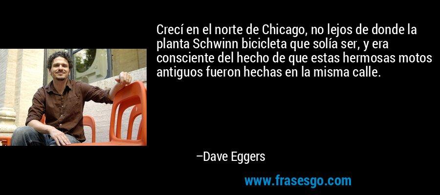 Crecí en el norte de Chicago, no lejos de donde la planta Schwinn bicicleta que solía ser, y era consciente del hecho de que estas hermosas motos antiguos fueron hechas en la misma calle. – Dave Eggers