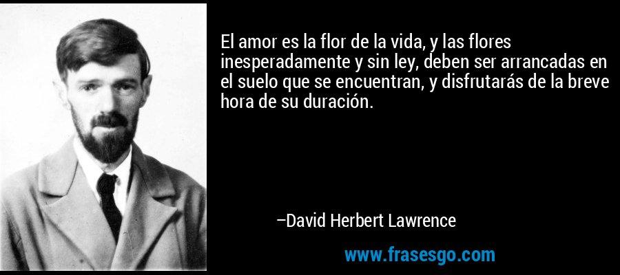 El amor es la flor de la vida, y las flores inesperadamente y sin ley, deben ser arrancadas en el suelo que se encuentran, y disfrutarás de la breve hora de su duración. – David Herbert Lawrence