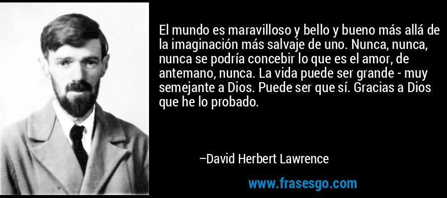 El mundo es maravilloso y bello y bueno más allá de la imaginación más salvaje de uno. Nunca, nunca, nunca se podría concebir lo que es el amor, de antemano, nunca. La vida puede ser grande - muy semejante a Dios. Puede ser que sí. Gracias a Dios que he lo probado. – David Herbert Lawrence