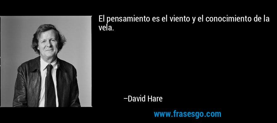 El pensamiento es el viento y el conocimiento de la vela. – David Hare