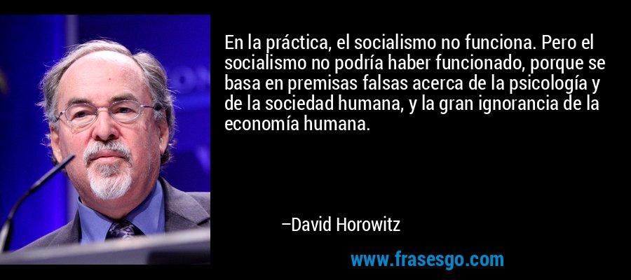 En la práctica, el socialismo no funciona. Pero el socialismo no podría haber funcionado, porque se basa en premisas falsas acerca de la psicología y de la sociedad humana, y la gran ignorancia de la economía humana. – David Horowitz