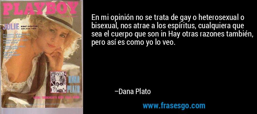 En mi opinión no se trata de gay o heterosexual o bisexual, nos atrae a los espíritus, cualquiera que sea el cuerpo que son in Hay otras razones también, pero así es como yo lo veo. – Dana Plato