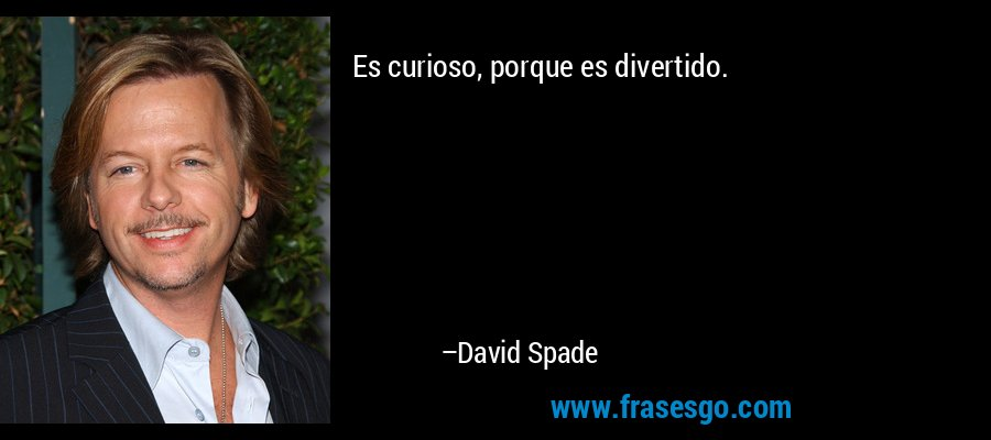 Es curioso, porque es divertido. – David Spade