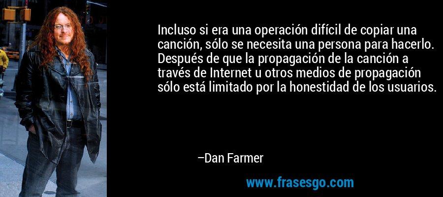 Incluso si era una operación difícil de copiar una canción, sólo se necesita una persona para hacerlo. Después de que la propagación de la canción a través de Internet u otros medios de propagación sólo está limitado por la honestidad de los usuarios. – Dan Farmer