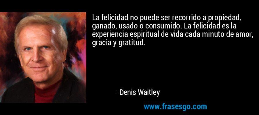 La felicidad no puede ser recorrido a propiedad, ganado, usado o consumido. La felicidad es la experiencia espiritual de vida cada minuto de amor, gracia y gratitud. – Denis Waitley