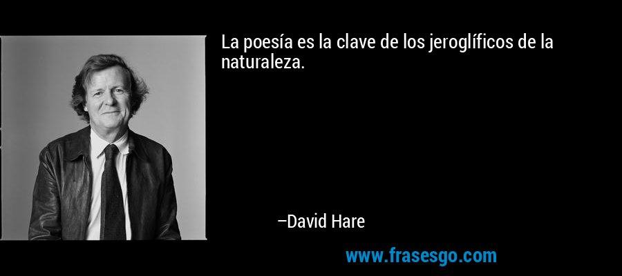 La poesía es la clave de los jeroglíficos de la naturaleza. – David Hare