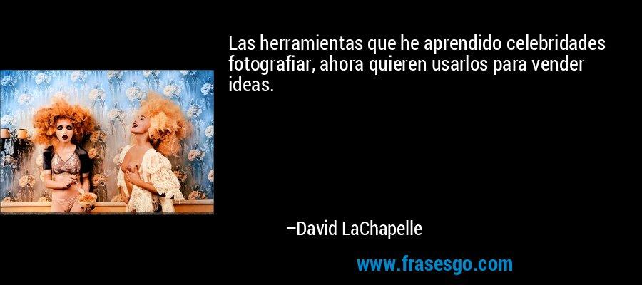 Las herramientas que he aprendido celebridades fotografiar, ahora quieren usarlos para vender ideas. – David LaChapelle