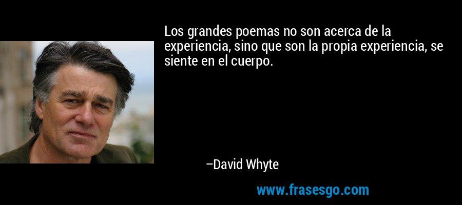 Los grandes poemas no son acerca de la experiencia, sino que son la propia experiencia, se siente en el cuerpo. – David Whyte