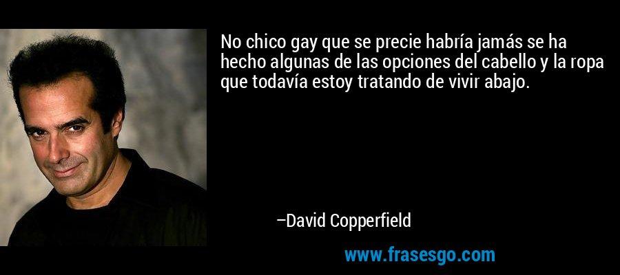 No chico gay que se precie habría jamás se ha hecho algunas de las opciones del cabello y la ropa que todavía estoy tratando de vivir abajo. – David Copperfield