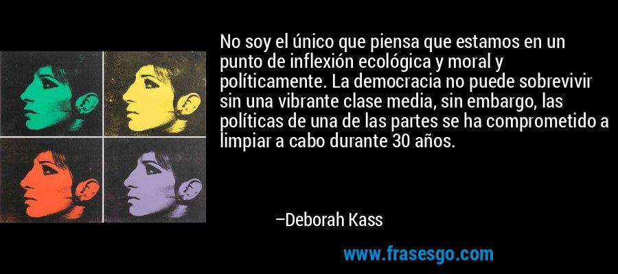 No soy el único que piensa que estamos en un punto de inflexión ecológica y moral y políticamente. La democracia no puede sobrevivir sin una vibrante clase media, sin embargo, las políticas de una de las partes se ha comprometido a limpiar a cabo durante 30 años. – Deborah Kass