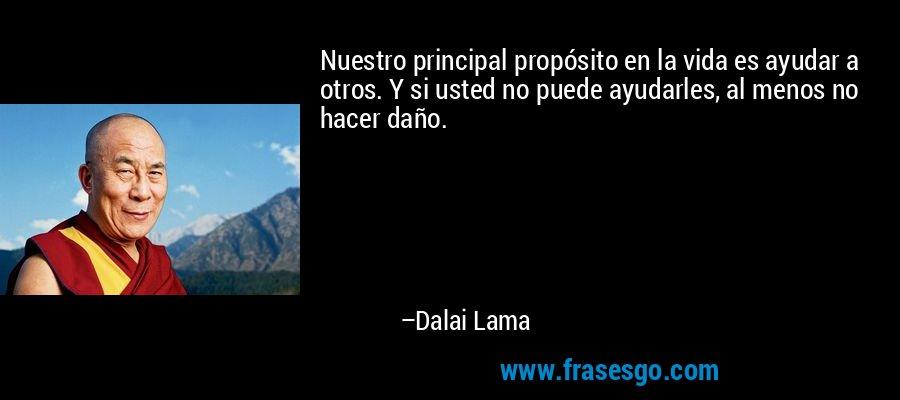 Nuestro principal propósito en la vida es ayudar a otros. Y si usted no puede ayudarles, al menos no hacer daño. – Dalai Lama