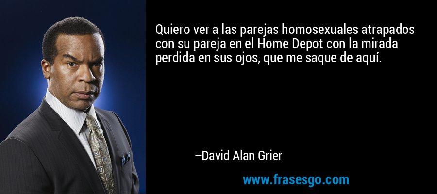 Quiero ver a las parejas homosexuales atrapados con su pareja en el Home Depot con la mirada perdida en sus ojos, que me saque de aquí. – David Alan Grier