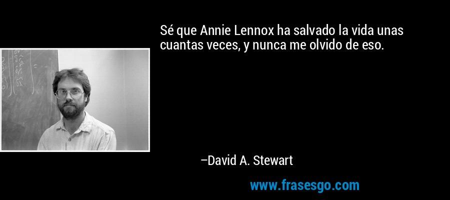 Sé que Annie Lennox ha salvado la vida unas cuantas veces, y nunca me olvido de eso. – David A. Stewart