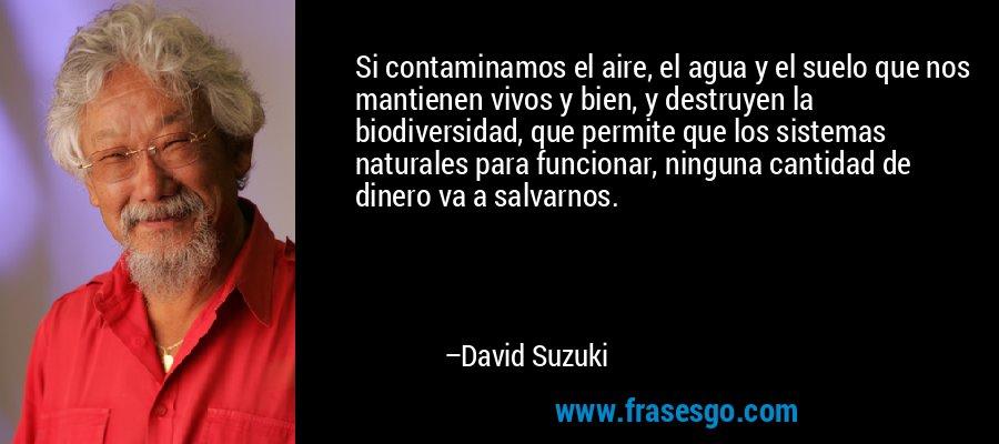 Si contaminamos el aire, el agua y el suelo que nos mantienen vivos y bien, y destruyen la biodiversidad, que permite que los sistemas naturales para funcionar, ninguna cantidad de dinero va a salvarnos. – David Suzuki