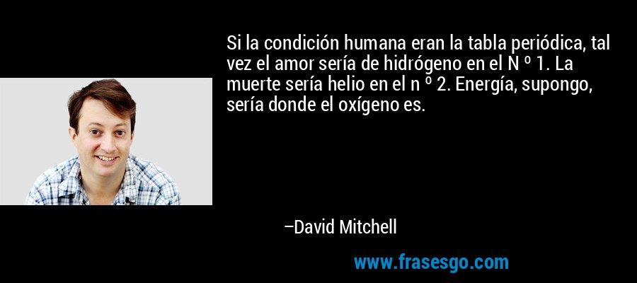 Si la condición humana eran la tabla periódica, tal vez el amor sería de hidrógeno en el N º 1. La muerte sería helio en el n º 2. Energía, supongo, sería donde el oxígeno es. – David Mitchell