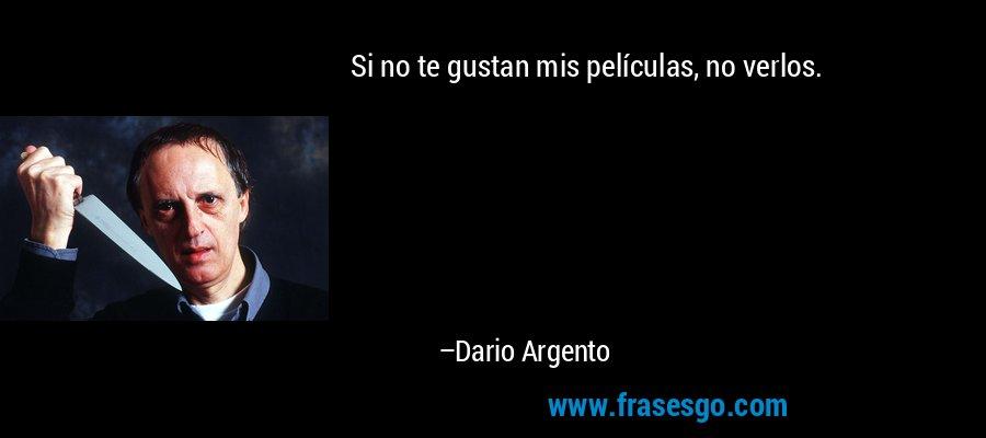 Si no te gustan mis películas, no verlos. – Dario Argento