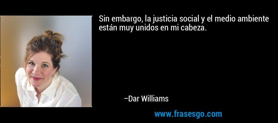 Sin embargo, la justicia social y el medio ambiente están muy unidos en mi cabeza. – Dar Williams
