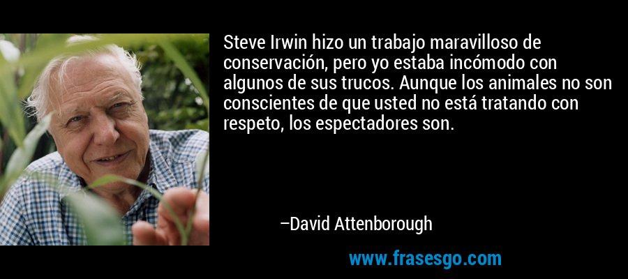 Steve Irwin hizo un trabajo maravilloso de conservación, pero yo estaba incómodo con algunos de sus trucos. Aunque los animales no son conscientes de que usted no está tratando con respeto, los espectadores son. – David Attenborough