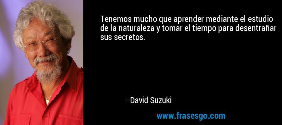 Tenemos mucho que aprender mediante el estudio de la naturaleza y tomar el tiempo para desentrañar sus secretos. – David Suzuki
