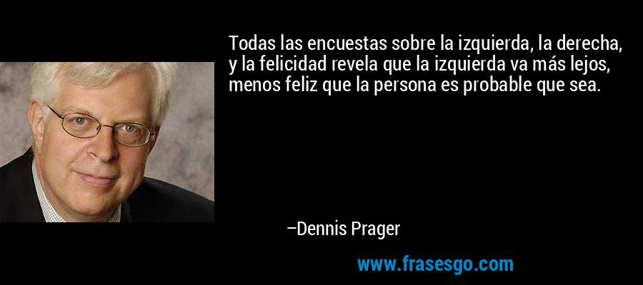 Todas las encuestas sobre la izquierda, la derecha, y la felicidad revela que la izquierda va más lejos, menos feliz que la persona es probable que sea. – Dennis Prager