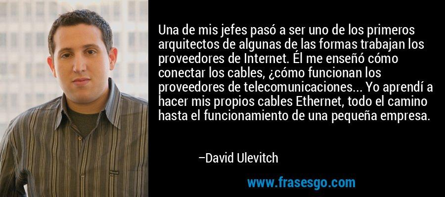 Una de mis jefes pasó a ser uno de los primeros arquitectos de algunas de las formas trabajan los proveedores de Internet. Él me enseñó cómo conectar los cables, ¿cómo funcionan los proveedores de telecomunicaciones... Yo aprendí a hacer mis propios cables Ethernet, todo el camino hasta el funcionamiento de una pequeña empresa. – David Ulevitch