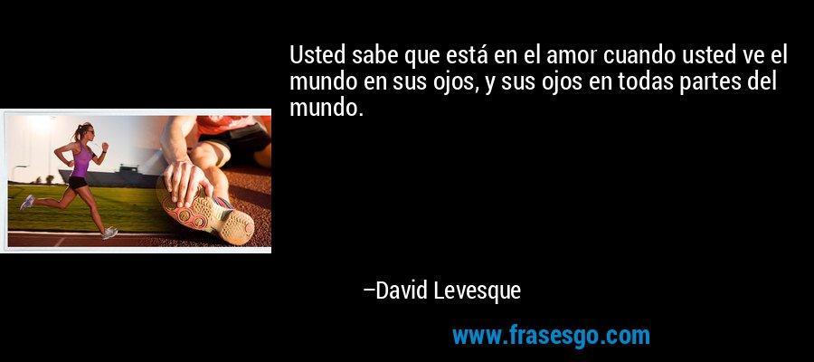 Usted sabe que está en el amor cuando usted ve el mundo en sus ojos, y sus ojos en todas partes del mundo. – David Levesque