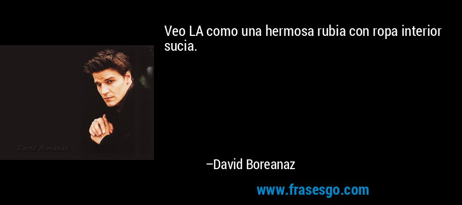 Veo LA como una hermosa rubia con ropa interior sucia. – David Boreanaz