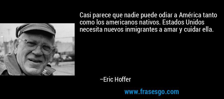 Casi parece que nadie puede odiar a América tanto como los americanos nativos. Estados Unidos necesita nuevos inmigrantes a amar y cuidar ella. – Eric Hoffer