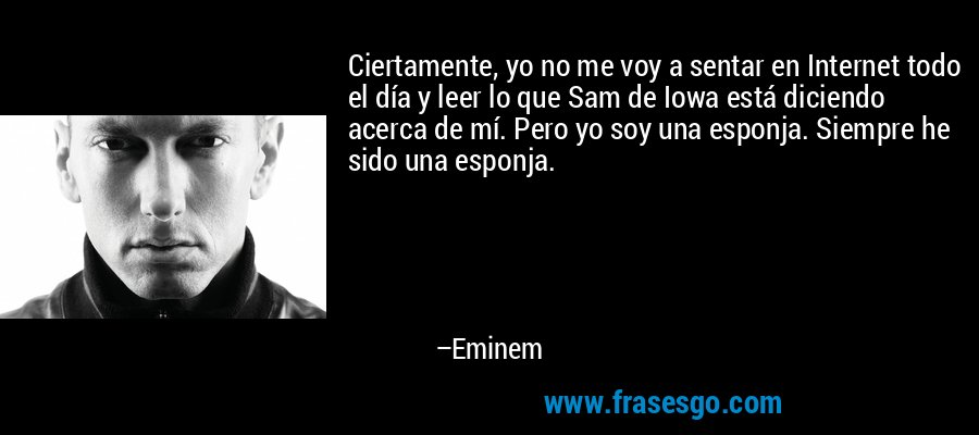 Ciertamente, yo no me voy a sentar en Internet todo el día y leer lo que Sam de Iowa está diciendo acerca de mí. Pero yo soy una esponja. Siempre he sido una esponja. – Eminem