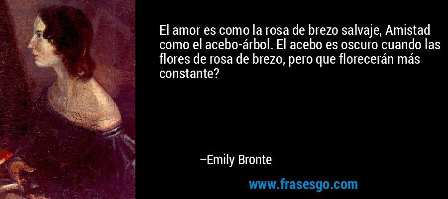 El amor es como la rosa de brezo salvaje, Amistad como el acebo-árbol. El acebo es oscuro cuando las flores de rosa de brezo, pero que florecerán más constante? – Emily Bronte
