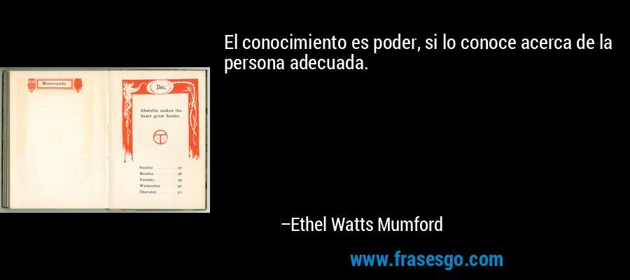El conocimiento es poder, si lo conoce acerca de la persona adecuada. – Ethel Watts Mumford