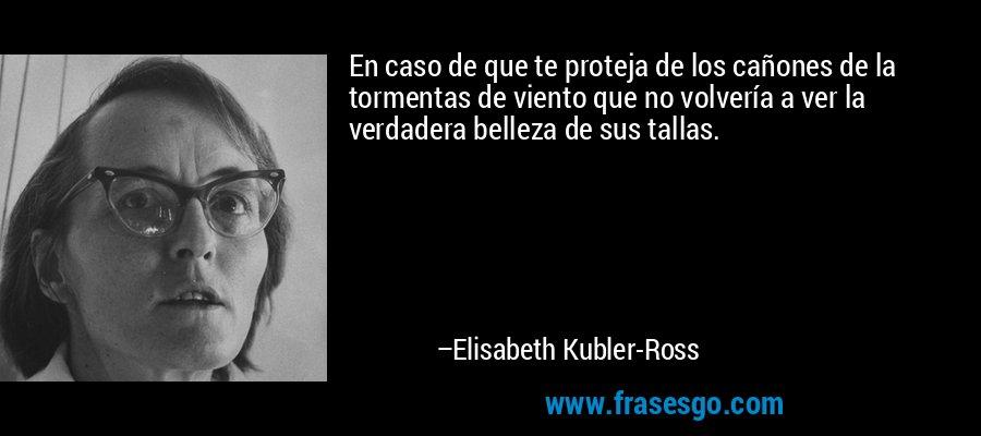 En caso de que te proteja de los cañones de la tormentas de viento que no volvería a ver la verdadera belleza de sus tallas. – Elisabeth Kubler-Ross