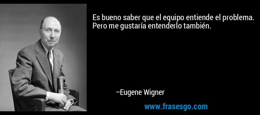 Es bueno saber que el equipo entiende el problema. Pero me gustaría entenderlo también. – Eugene Wigner