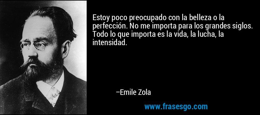 Estoy poco preocupado con la belleza o la perfección. No me importa para los grandes siglos. Todo lo que importa es la vida, la lucha, la intensidad. – Emile Zola
