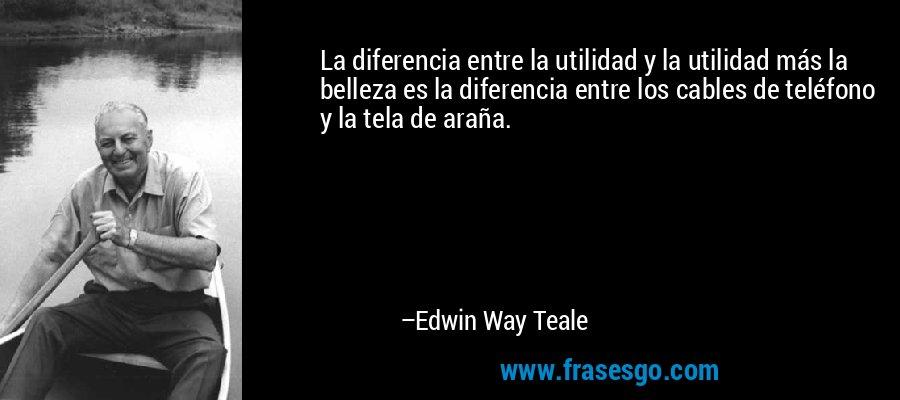 La diferencia entre la utilidad y la utilidad más la belleza es la diferencia entre los cables de teléfono y la tela de araña. – Edwin Way Teale