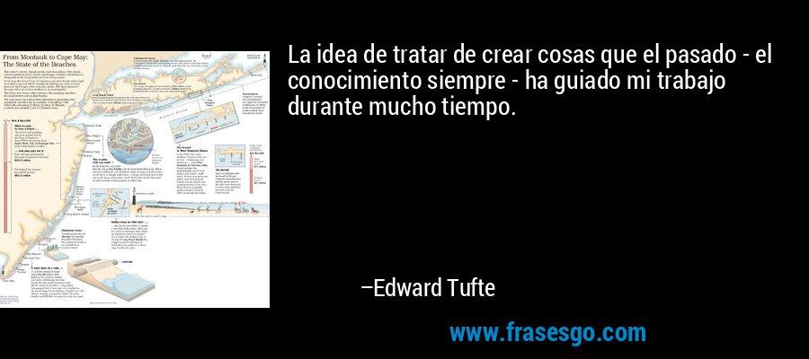 La idea de tratar de crear cosas que el pasado - el conocimiento siempre - ha guiado mi trabajo durante mucho tiempo. – Edward Tufte