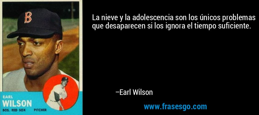 La nieve y la adolescencia son los únicos problemas que desaparecen si los ignora el tiempo suficiente. – Earl Wilson