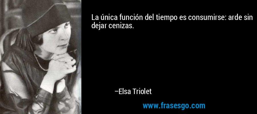 La única función del tiempo es consumirse: arde sin dejar cenizas. – Elsa Triolet