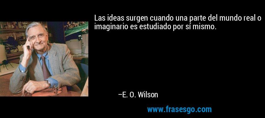 Las ideas surgen cuando una parte del mundo real o imaginario es estudiado por sí mismo. – E. O. Wilson