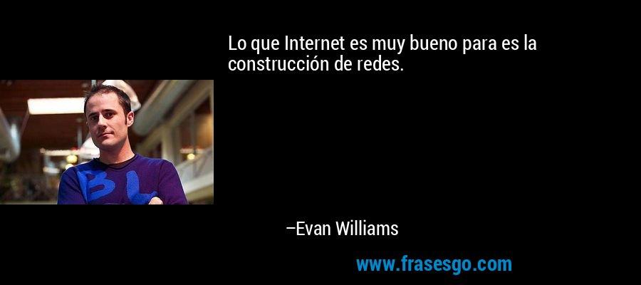 Lo que Internet es muy bueno para es la construcción de redes. – Evan Williams