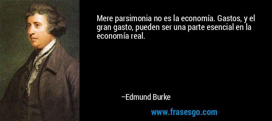 Mere parsimonia no es la economía. Gastos, y el gran gasto, pueden ser una parte esencial en la economía real. – Edmund Burke
