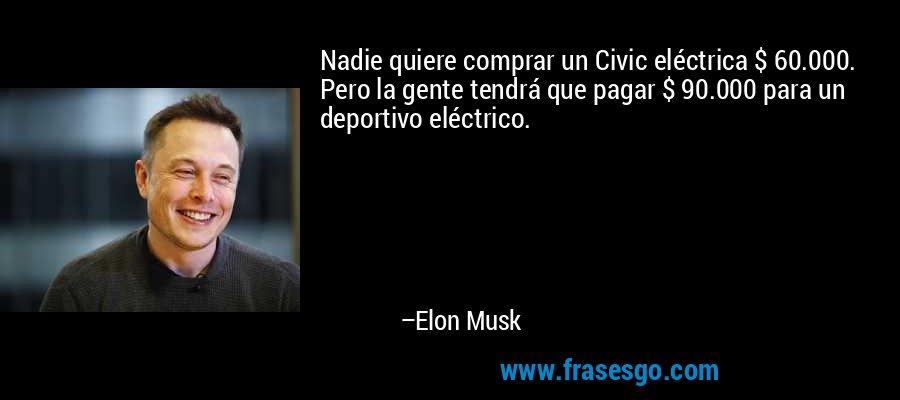 Nadie quiere comprar un Civic eléctrica $ 60.000. Pero la gente tendrá que pagar $ 90.000 para un deportivo eléctrico. – Elon Musk